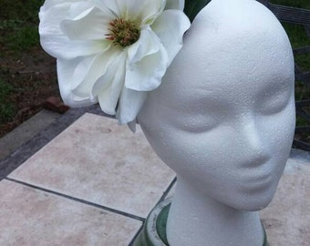 Stunning large white magnolia hair flower