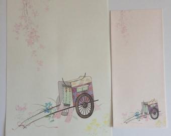 Japanese stationery with envelopes, Goshoguruma, 12 sheets and 4 envelopes (P039)