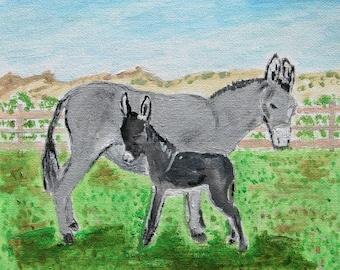 Acrylic painting of Donkeys