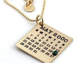 Personalized Calendar Necklace - Gold Filled Mark Your Calendar Necklace hand stamped with flat back crystal