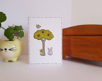 Notecard rabbit button tree paper pieced card blank