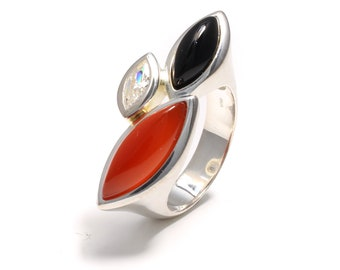 925 sterling silver ring with carnelian, Cubic zirconia and onyx