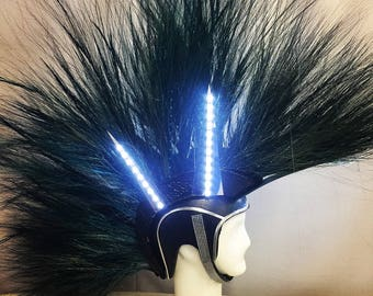 Black and blue foam light up mohawk headpiece with crystal chin strap