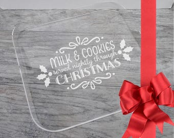 "Laser Engraved Acrylic Tray, Milk and Cookies, Square Tray 12"" x 12"", Christmas Gift, Hostess gift, Tray with handles"