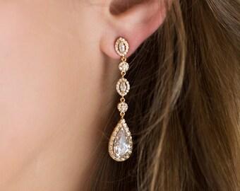 Gold Earrings Wedding Jewelry Teardrop Earrings Long Earrings Bridal Accessories Crystal Earrings Drop Earrings Gold Bridal Jewelry E146-G
