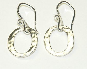 Sterling Sterling Silver Circle Earrings - Circle Drop - Hammered Circles - Everyday earrings - Short Simple Dangle