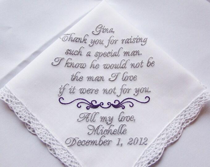 Mother of the Groom Wedding Handkerchief, Hankie, Hanky Personalized, Custom