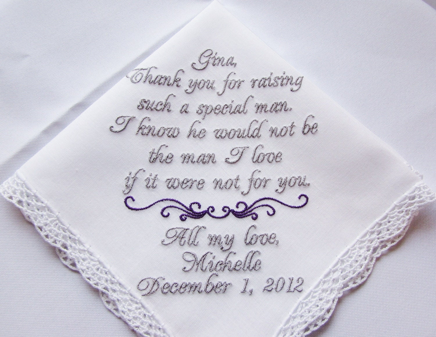 Mother of the Groom Wedding Handkerchief Hankie Hanky