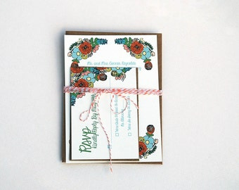 The Renee Collection - Floral Garden Party Wedding Invitation Set in Orange, Aqua and Green with Kraft or Cream Envelopes - SAMPLE