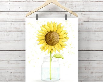 Sunflower in Mason Jar Watercolor Print - Flower Painting - Original Watercolor Art by Angela Weber