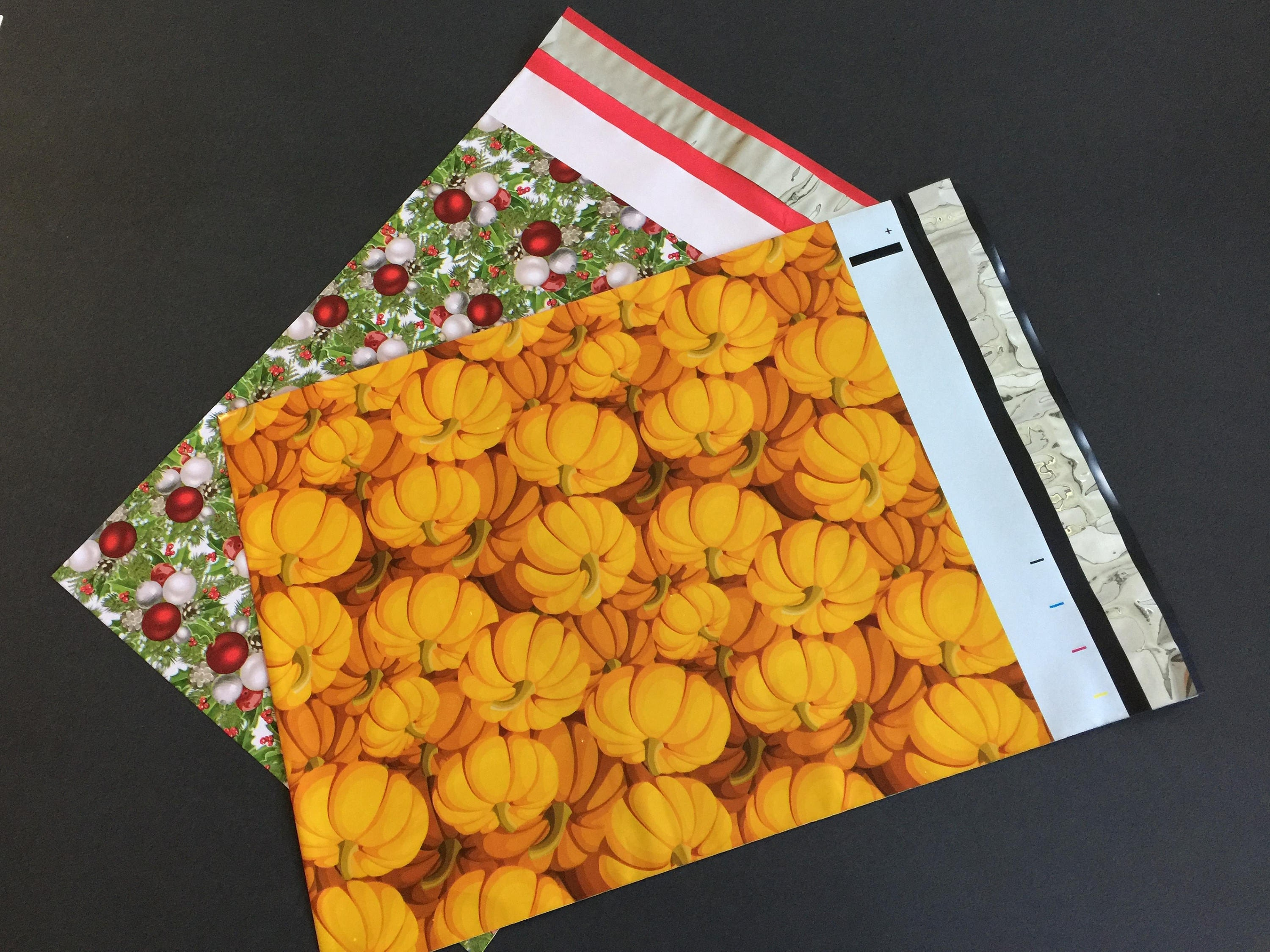 100 Designer 10x 13 PUMPKIN and HOLLYBERRY Poly Mailers 50