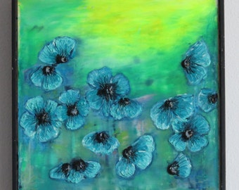 Blue poppies in the Field