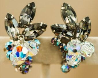 Rhinestone Earrings-Juliana D&E Verified-Black Diamond Faceted Crystal Earrings-Clip Style-Silver Tone-Vintage