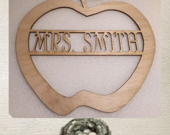 Apple with Name - Laser Cut Wood