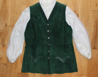 Gorgeous Green Original 70s Suede Popper Front Waistcoat With Two Front Pockets Uk Size 16