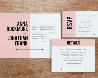 Printable Wedding Invitation Template | INSTANT DOWNLOAD | Pink Block | DIY | Editable Adobe pdf | Response and Info Card Set
