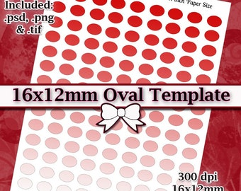 16x12mm Oval Cameos DIY DIGITAL Collage Sheet TEMPLATE 8.5x11 Page with Video Tutorial Instructions (Instant Download)