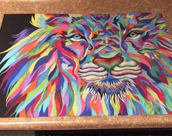 11x14 Colorful Lion Print - Larger print available