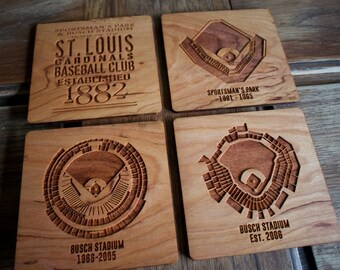 """Set of four 4"""" wood coasters depicting the St Louis Baseball Cardinals stadiums, Sportsman's Park, new & old Busch Stadium, acrylic, slate"""