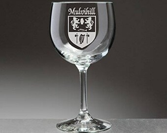 Mulvihill Irish Coat of Arms Red Wine Glasses - Set of 4 (Sand Etched)