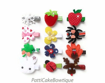 Baby Hair Clips/Hairclips for Baby Fine Hair/Hair Clips for Girls/Hair Barrette for 12 Holidays/Little Girl Hair Clippy w/ Silicone Grip