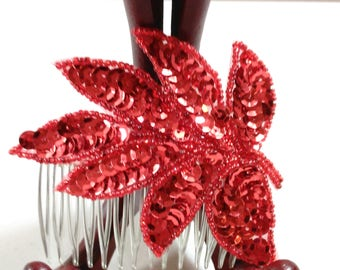 """Red Sequin 7 Leaf Hair Comb/Accessories/3.5"""" Long/Hand Crafted/New (B)"""