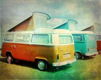 Volkswagen Van Vintage Art Print - VW Red Orange Aqua  Retro Surf Hippie Photograph