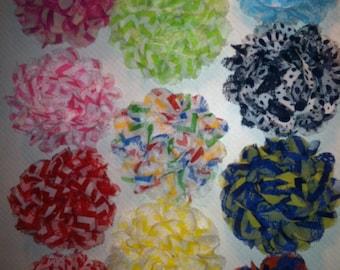 "Chevron Polka Dots Flower Baby Girls Clips. 3 1/2"" You Choose colors. You choose Quantity."