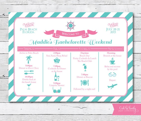 Items similar to Bachelorette Weekend Invitation Weekend Itinerary