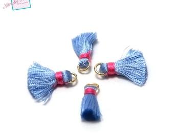 4 beautiful quality 22mm, blue silk tassels