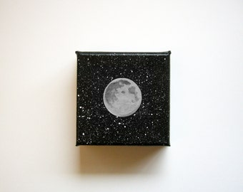 Moon | Original Acrylic Painting | 4x4 Inches | By Janelle Anakotta