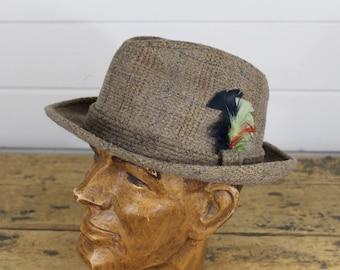 Vintage Stevens Brown Fedora Hat, 7 1/8, Mens Tweed Hat, Feathers, Tyrolean Hat, Cool Hat, Stevens Brand Hat, Brown Fedora, Tweed Fedora Old