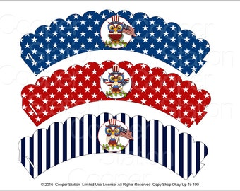 Digital Printable  4th of July - Independence Day Owl Cupcake Wrappers-Patriotic Owls- Party