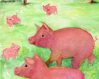Happy Pigs watercolor painting original, pig art,  animal art,  pigs in forest, piglets 5 x 7