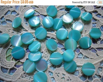 """ON SALE 2 Dozen Vintage 1950s Aqua Turquoise Iridescent Self Shank NOS Buttons 