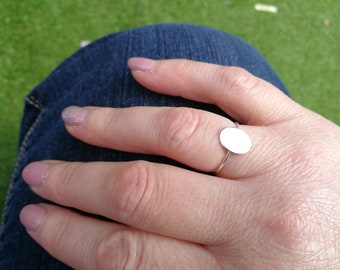Flat Oval Disc Band Ring