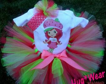 Custom Mod Strawberry Shortcake Birthday Shirt + Tutu Outfit  (any age)