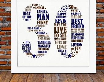 Framed 30th Birthday Gift for men - 30th birthday, 30th birthday gift, personalized birthday print, 30th gift ideas, 30th birthday for him