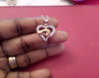 Silver with Gold Sparkly Heart and Hands Necklace