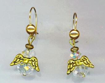 Small Angel Earrings . Faceted Crystal . Communion Angels. Guardian Angel . Gold Golden Wings - Watching Over You by enchantedbeas on Etsy