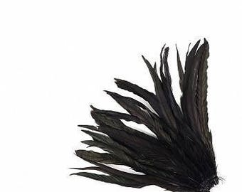 "10-12"" Black Rooster Coque Feathers - BCCHBL10-12--BL-IRID (25 piece pkg)"