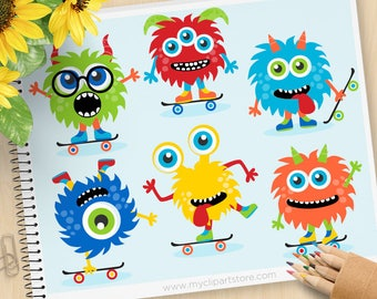 Monster Skaters Clipart, Skateboards, boy monsters, monster party, blue, monster birthday, commercial use, vector clipart, SVG cut files