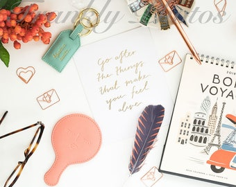 Instagram Square / Rose Gold Desk Styled Stock Photo / Styled Stock Photography / Flatlay / Lifestyle Stock Image /Frankly Photos File #44sq