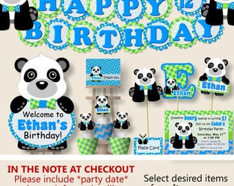 Panda Birthday Party or Panda Baby Shower Decorations - Party Package, Invitation, Banner, Party Hat - Blue and Green