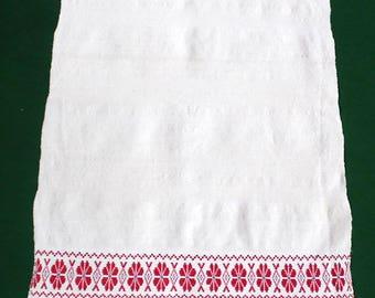 Vintage woven linen Towel hanging dish towel Dishtowel , fringe