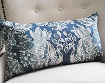 Decorative Pillows, Lumbar pillow cover, Blue white pillow, Pillows, Home decor, Throw pillow, 14 x 26 inch, 12 x 24 inch, blue pillow cover