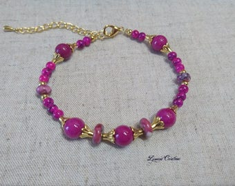 Pink bracelet plum jade beads and glass beads, women bracelet, women jewelry