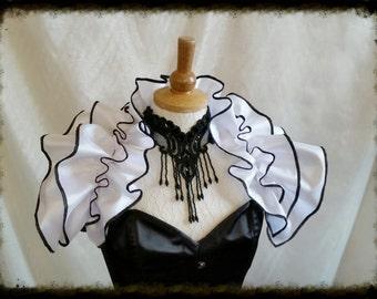 Gorgeous Tie on taffeta Ruffle Shrug GOTHIC WEDDING