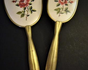 À main Vintage miroir brosse motif Floral de Roses