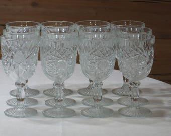 """Set of 12 Libbey """"Hobstar"""" 7 1/4"""" Water Goblets/Glasses  Excellent"""